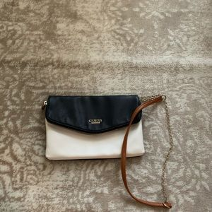 Guess Cross Body Handbag | Navy Blue/White/Brown